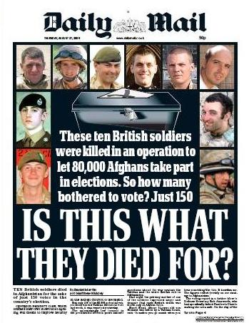 Daily Mail Headline 27 Aug 2009