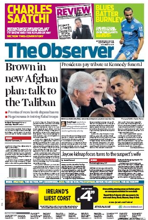 Observer Front Page 31 Aug 2009