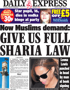 Daily Express Front Page 15 Oct 2009