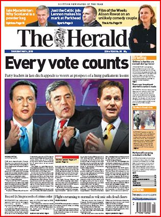 The Herold the herald uk election day 2010 newspaper front pages