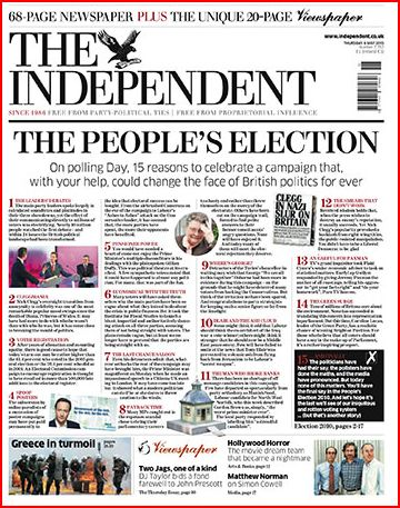 The Independent UK Election Day 2010 Newspaper Front Pages |