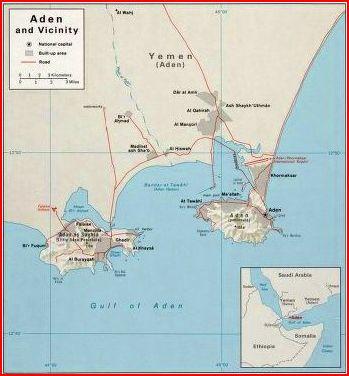 Map of Aden Circa 1960