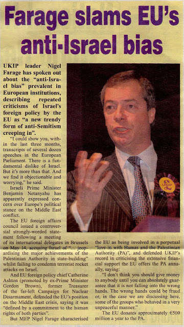 Nigel Farage UKIP Loves Israel