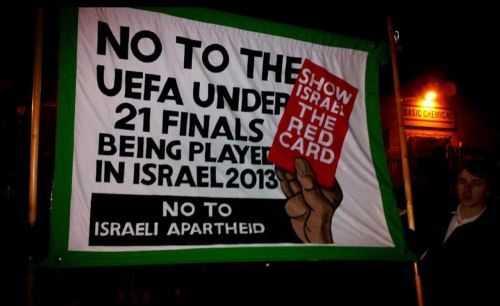 Show Israel the red card banner